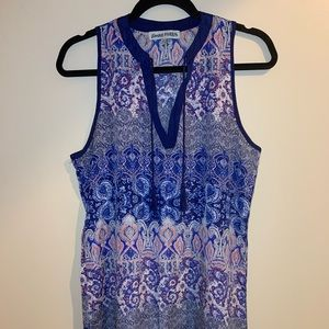 Blue and peach printed flowy dress med